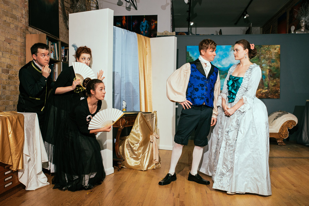 Jesse Hutson, Katy Werlin, Elise Soeder as Gossips Nathan Ducker as Voltaire & Ellen Dunphy as Emilie Du Chatelet - photography courtesy of Tuan H. Bui