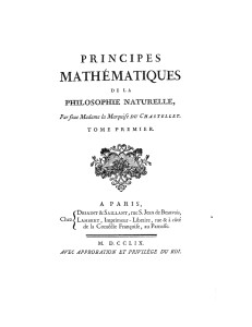 Commentary on Newton's Principia / Principes Mathematiques de le Philosophie Naturelle by Emilie du Chatelet